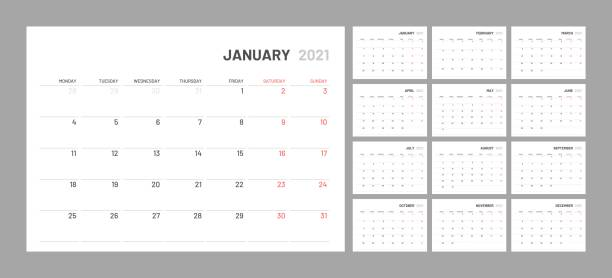 Calendar for 2021 new year in clean minimal table simple style. Wall calendar for 2021 year in clean minimal style. Corporate design planner template. Week Starts on Monday. Set of 12 Months. Ready for print. 2021 stock illustrations