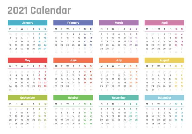 calendar for 2021 starts monday, vector calendar design 2021 year 2021 year calendar, calendar design for 2021 starts monday calendars templates stock illustrations
