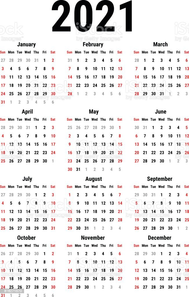 Calendar For 2021 Stock Vector Art More Images Of 2021 816271570