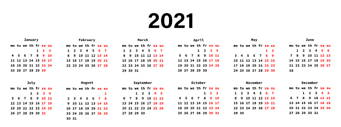 Calendar for 2021 year. New year 2021 planner. Days of week. months of year. Business organizer. Vector graphic.