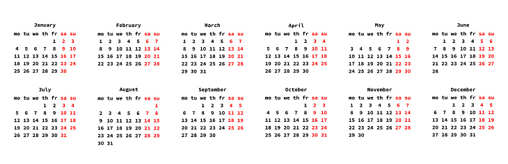 Calendar for 2021 year. New year 2021 planner. Days of week. months of year. Business organizer. Vector graphic. EPS 10