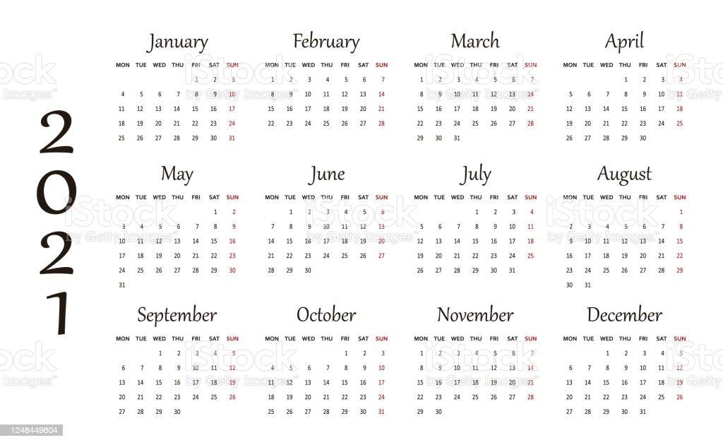 Calendar For 2021 Year Stock Illustration - Download Image ...