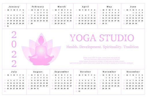 Calendar for 2022, advertisement yoga studio