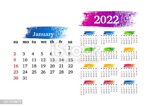 istock Calendar for 2022 isolated on a white background 1347316675