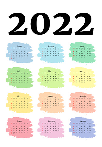 Calendar for 2022 isolated on a white