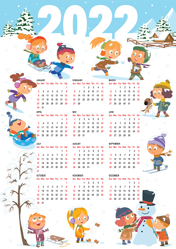 Calendar for 2022 year. Cheerful children play in the winter