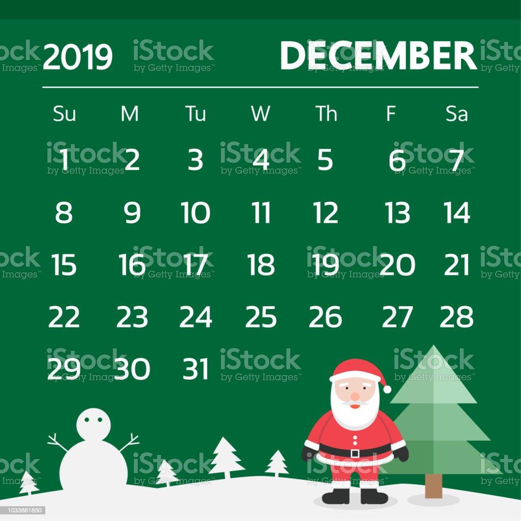Christmas 2019 Calendar.Calendar For December 2019 With Christmas Theme Vector Stock