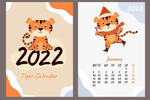 Calendar for January 2022. Cute tiger cub in a scarf and Santa hat, with a lollipop on skates. Year of the Tiger in Chinese. Vector illustration. Week starts on Monday. Vertical template and cover a4