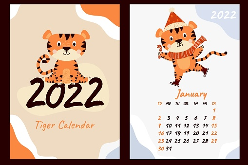 Calendar for January 2022. Cute tiger cub in a scarf and Santa hat, with a lollipop on skates. Year of the Tiger in Chinese. Vector illustration. Week starts on Sunday. Vertical template and cover postcard a4