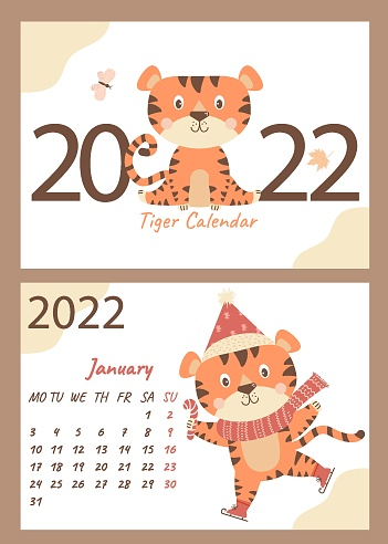Calendar for January 2022. Cute tiger cub in a scarf and Santa hat, with a lollipop on skates. Vector illustration. Week starts on Monday. horizontal template and cover a4. Year of the Tiger in Chinese
