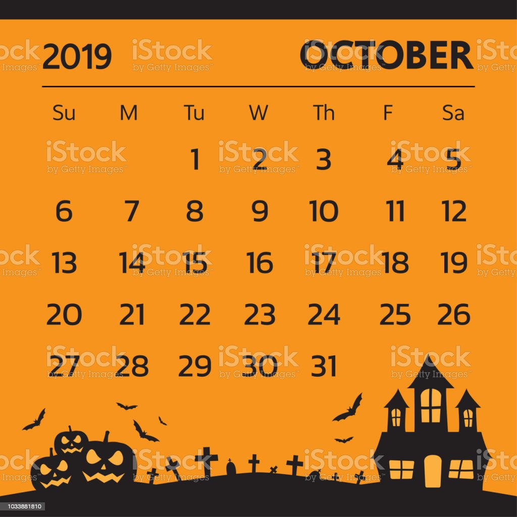 Halloween 2019 Calendar Calendar For October 2019 With Halloween Theme Vector Stock