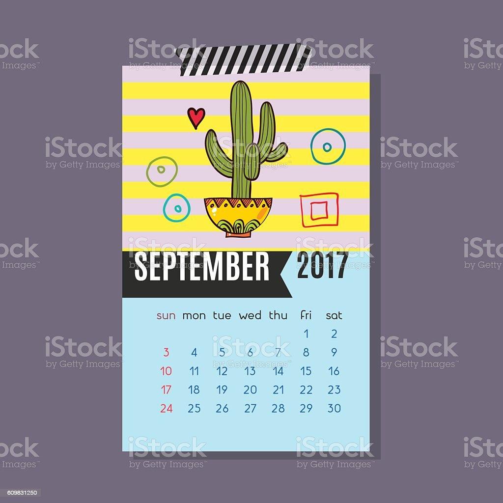 Calendar for September 2017 of cacti, succulents vector art illustration