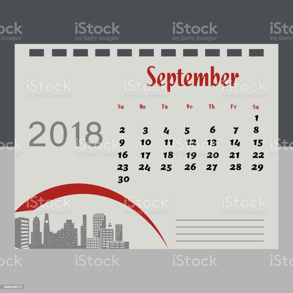 2018年 9 月のカレンダー - アメ...