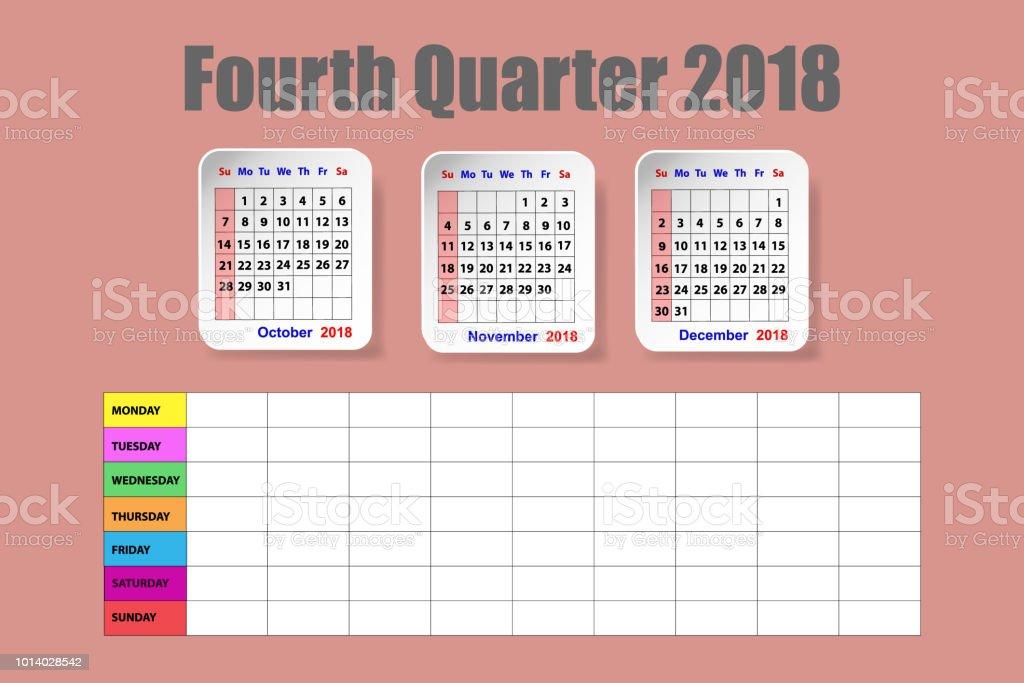 Ilustración de Calendario Para El Cuarto Trimestre Del Año 2018 Con ...