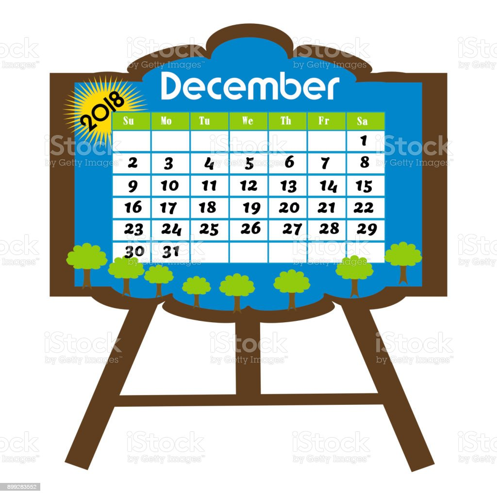 Calendar For The Month Of December 2018 Stock Vector Art More