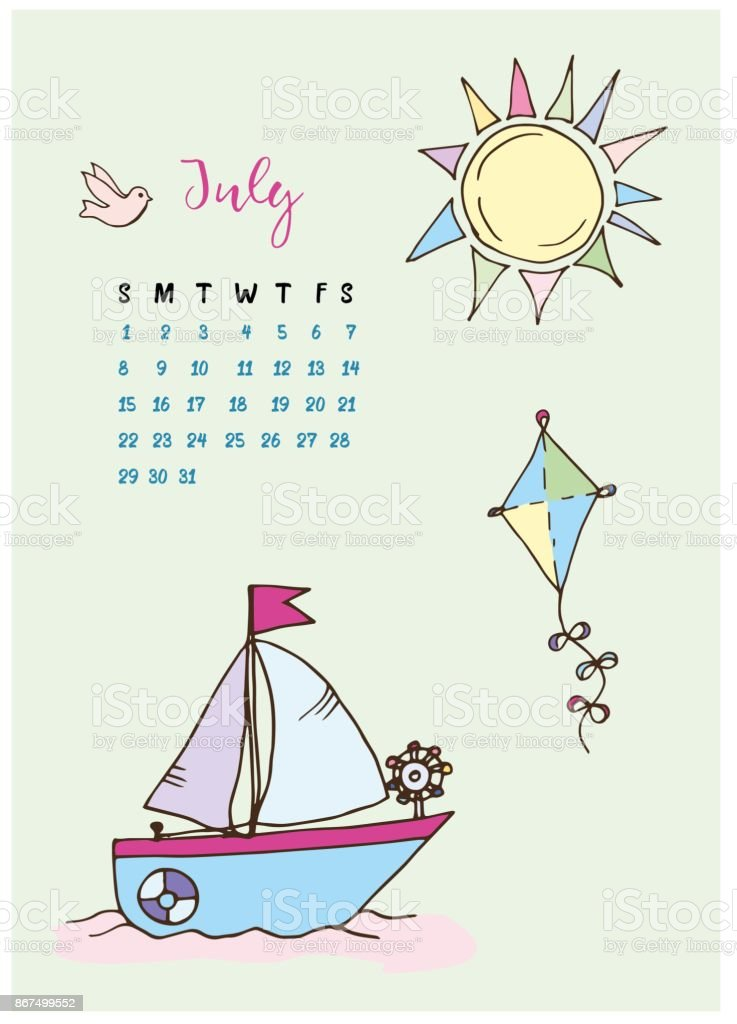 Calendar For The Month Of July 2018 The Boat With A Sail At Sea Kite ...