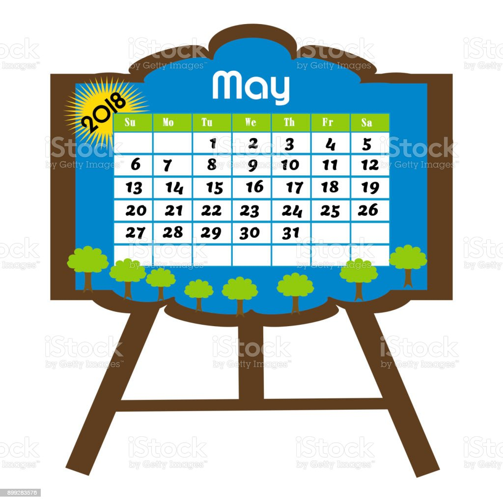 calendar for the month of may 2018 stock vector art more images of rh istockphoto com