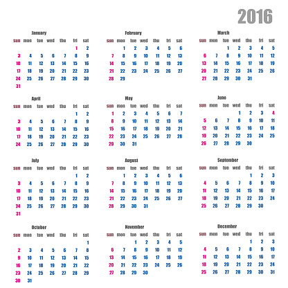 Calendar for the year 2016 in a flat style stylish
