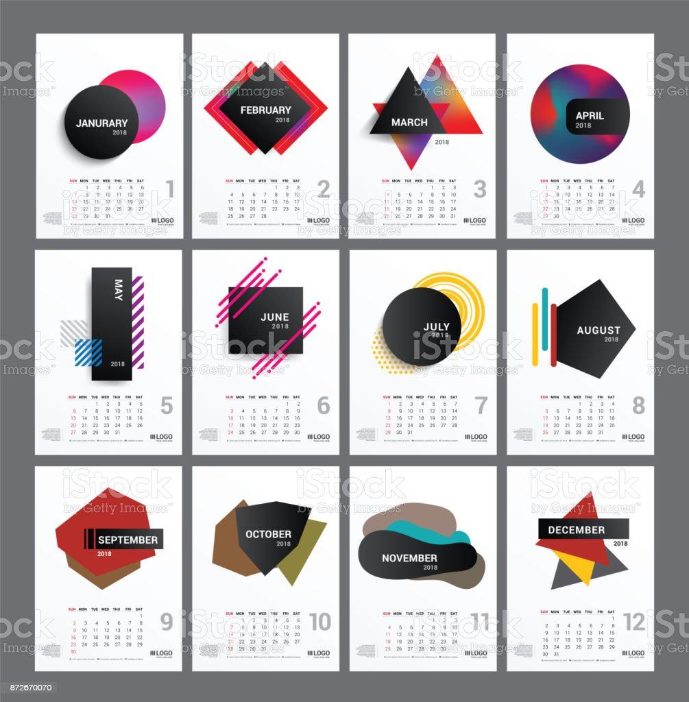 Kalender Für Das Jahr 2018 Mit Bunten Schreibtisch Monatliche ...