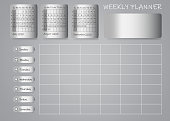 Calendar for third quarter of 2020 year with weekly planner chart and blank label for notes on metallic sheets. Week start Sunday.