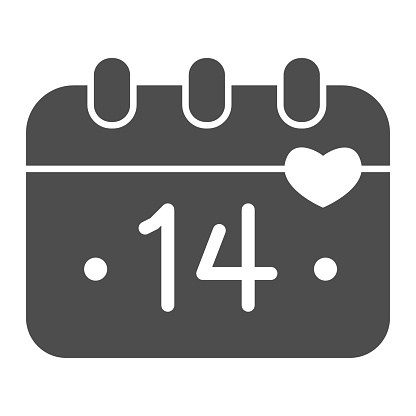 Calendar Fourteenth of February solid icon, valentine day concept, Calendar sheet with holiday of love sign on white background, date of valentine day icon in glyph style. Vector graphics.