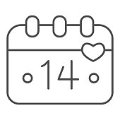 istock Calendar Fourteenth of February thin line icon, valentine day concept, Calendar sheet with holiday of love sign on white background, date of valentine day icon in outline style. Vector graphics. 1287528768