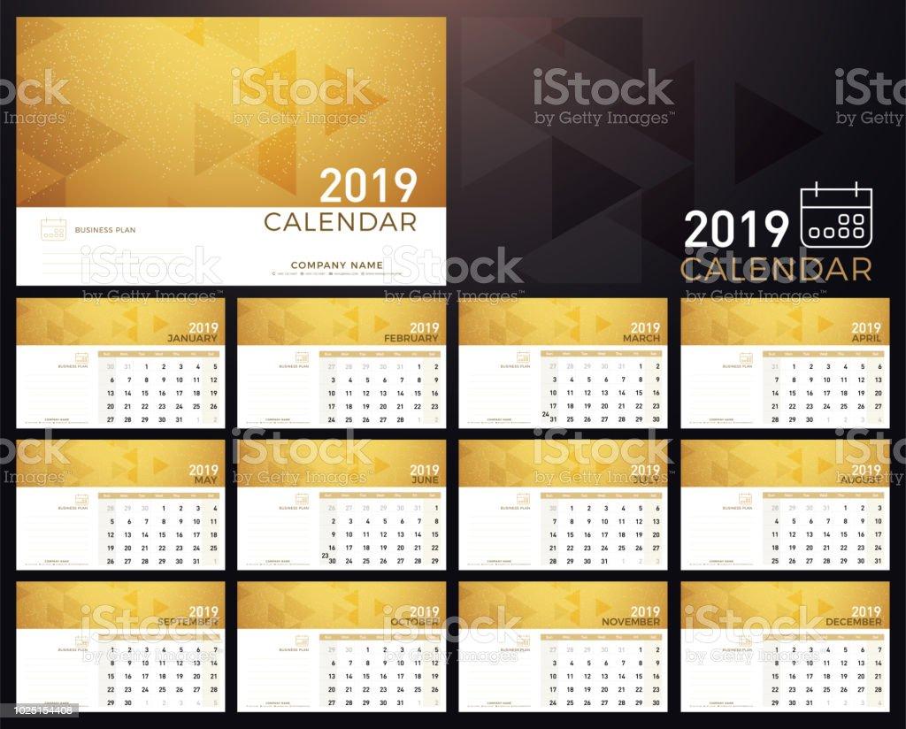 Calendar Golden Planner 2019 Year Calendar Plan Simple Minimal Wall