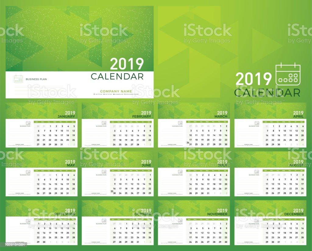 Calendar Green Planner 2019 Year Calendar Plan Simple Minimal Wall
