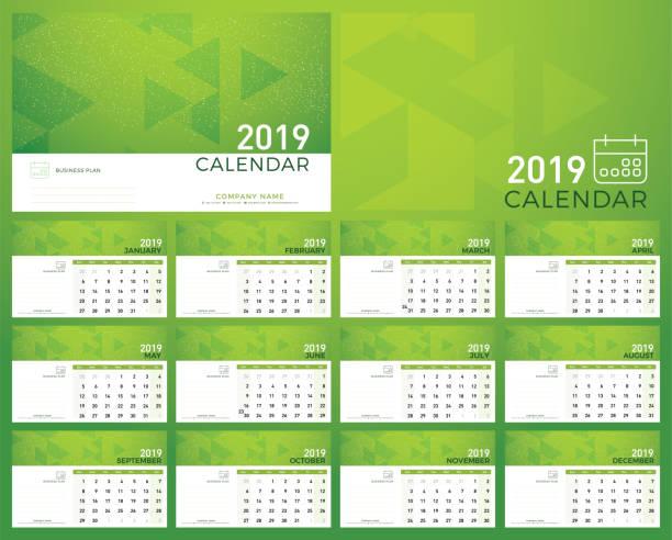 grün-planer 2019 kalenderjahr. kalender plan einfach minimal wand und schreibtisch art vorlage abstrakten hintergrund. woche ab sonntag - tischkalender stock-grafiken, -clipart, -cartoons und -symbole