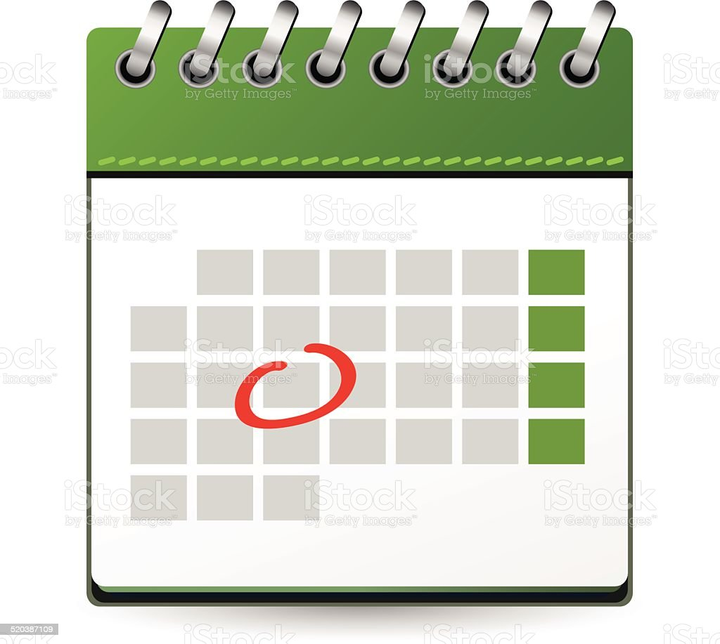 Calendar Green : Calendar green with one day marked stock vector art more