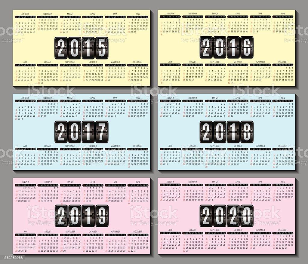 Grille Du Calendrier 2015 2016 2020 Pour Carte De Visite