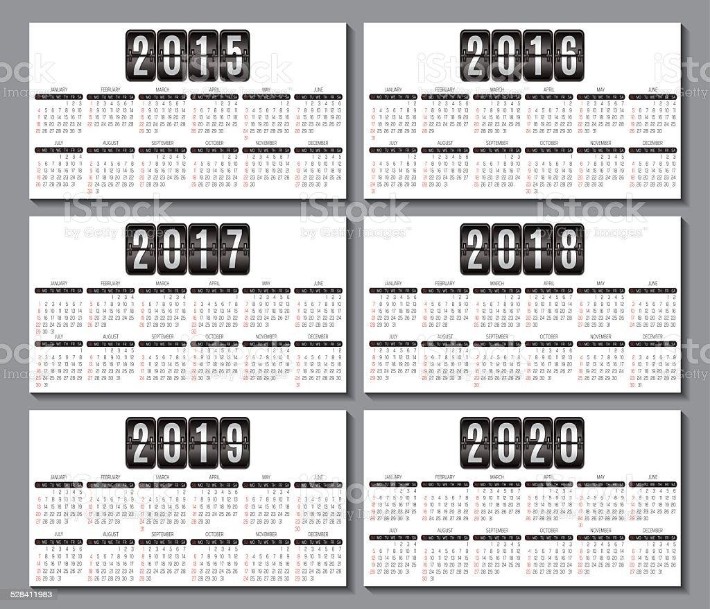 Grille Du Calendrier 2015 2020 Pour Carte De Visite