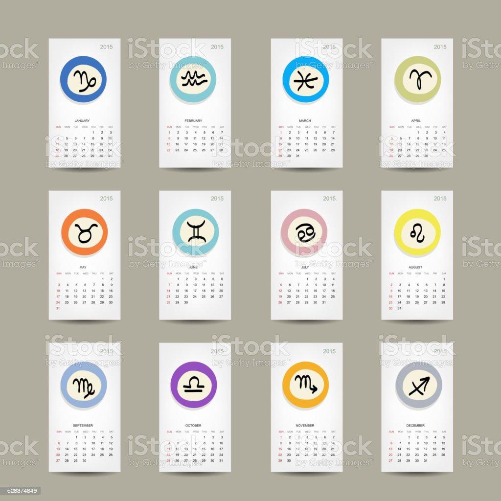 Calendario Segni.Griglia Del Calendario 2015 Progettazione Di Segni Dello