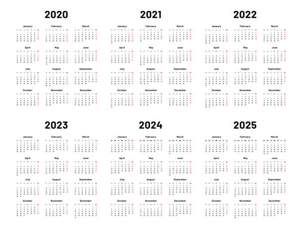 Calendar grid. 2020 2021 and 2022 yearly calendars. 2023, 2024 years organizer and 2025 year weekdays vector illustration set Calendar grid. 2020 2021 and 2022 yearly calendars. 2023, 2024 years organizer and 2025 year weekdays. Business planner, day graphic planning calendar isolated vector illustration set calendar stock illustrations