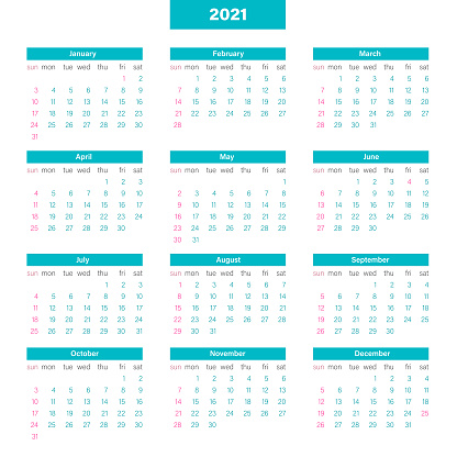 Calendar Grid 2021, Organizer Days from Sunday