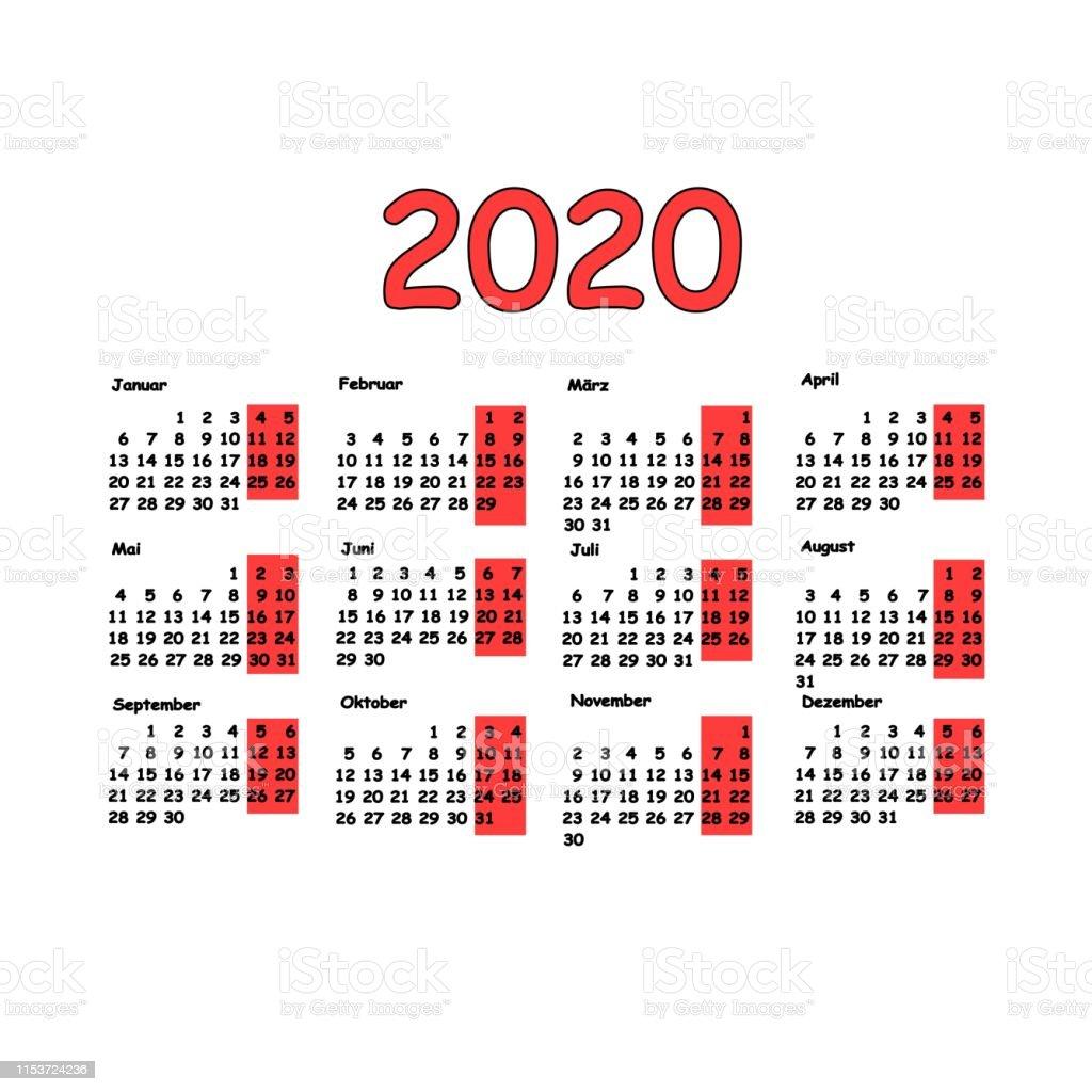 Calendrier Allemand 2020.2020 Grille Calendrier Langue Allemande Planification