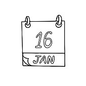 calendar hand drawn in doodle style. January 16. World Beatles Day, Religious Freedom, date. icon, sticker, element, design. planning, business holiday