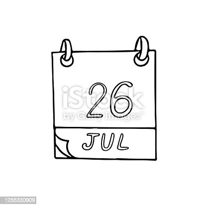 istock calendar hand drawn in doodle style. July 26. Esperanto Day, date. icon, sticker, element, design. planning, business holiday 1255330909