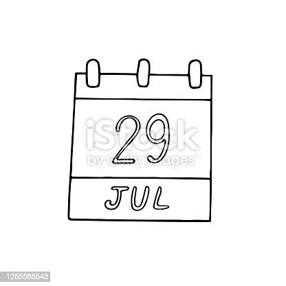 istock calendar hand drawn in doodle style. July 29. International Tiger Day, date. icon, sticker, element, design. planning, business holiday 1255585543