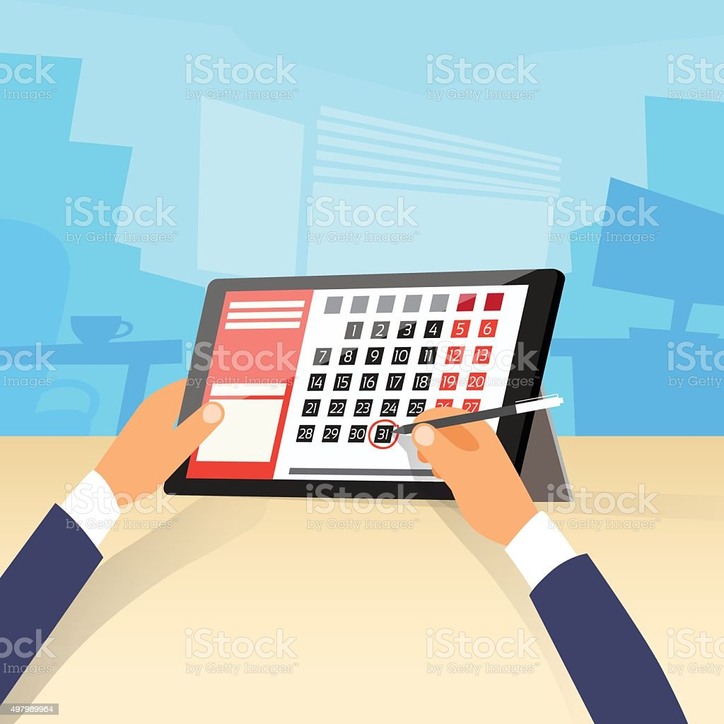 Calendar Hand Pen Tablet Computer Digital Device Date Last Day