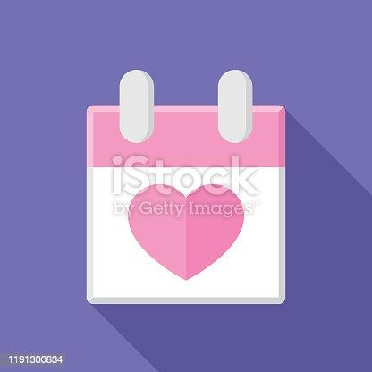 istock Calendar Heart Icon Flat 1191300634
