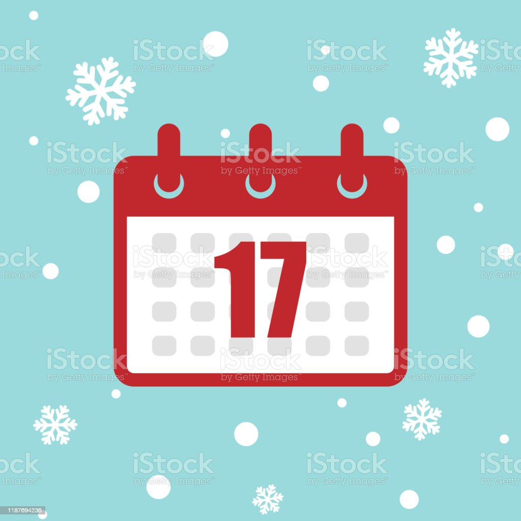 calendar icon 17 of december 2020 year isolated on snow background vector id1187694236