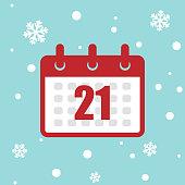 Icono calendario 21 de diciembre 2020 año aislado en el fondo de la nieve.