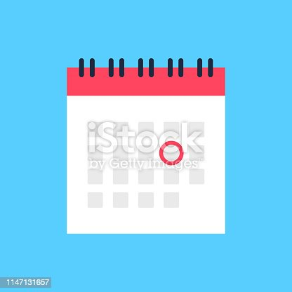 Calendar icon and red circle. Mark the date, holiday, important day concepts. Flat style design. Vector icon