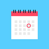 istock Calendar icon and red circle. Mark the date, holiday, important day concepts. Flat style design. Vector icon 1147131657