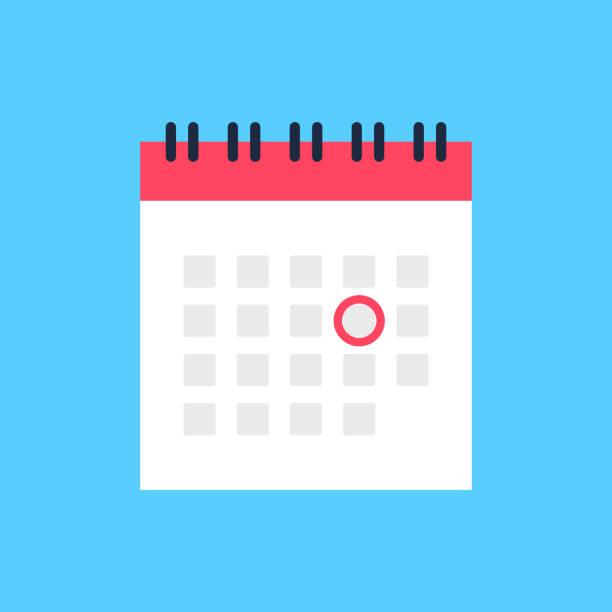 kalendersymbol und roter kreis. markieren sie das datum, den urlaub, wichtige tageskonzepte. flaches design. vektorsymbol - flat design stock-grafiken, -clipart, -cartoons und -symbole
