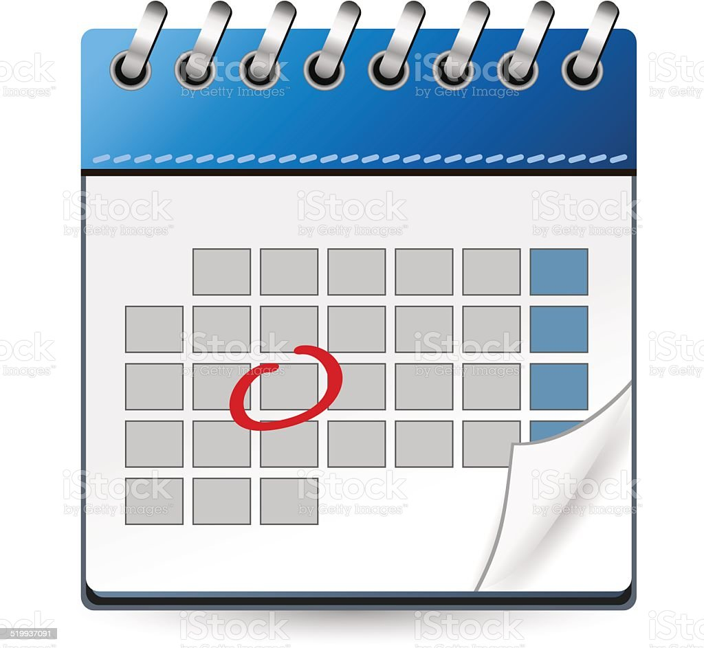 Calendar Day Vector Art : Calendar icon blue with marked day stock vector art more