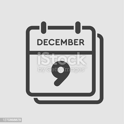 istock Calendar icon day 9 December, template icon day 1270868829