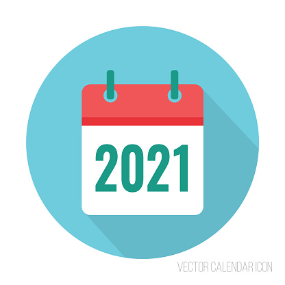 2021 Calendar Icon Flat Color New Year Vector Sign Stock