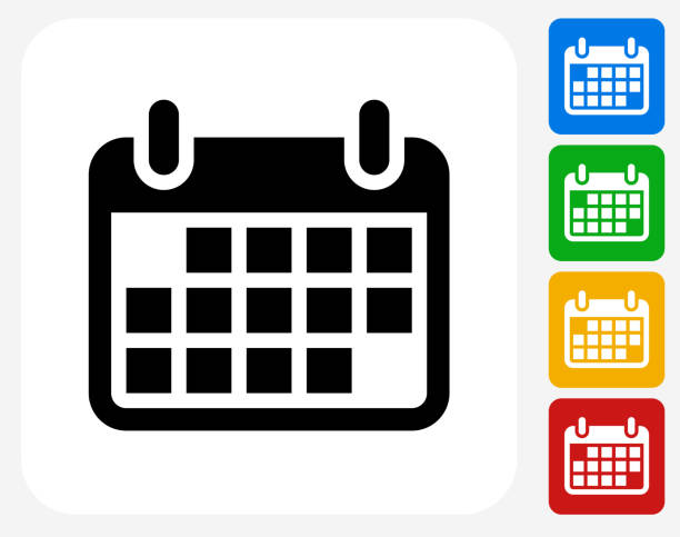 kalender-symbol flache grafik design - monatskalender stock-grafiken, -clipart, -cartoons und -symbole